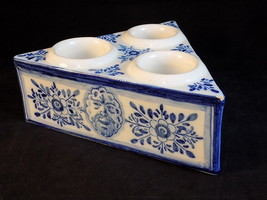 GREEK VOTIVE Vintage 3 CANDLE HOLDER Hand Painted Triangular Floral Design - $15.83