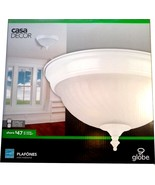 "HOME CASA DECOR GLOBE Ceiling Light Fixture Frosted Glass Shade 11"" Flus... - $5.00"
