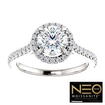 1.50 Carat (6.5mm) NEO Moissanite Solitaire Halo Ring 14K Gold with NEO ... - $979.00