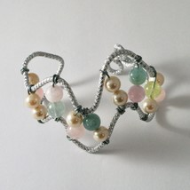 Bracelet Aluminum with Aquamarine Multi and Pearls image 2