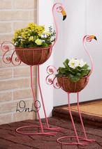 Set of 2 Pink Flamingo Planters Metal Coconut Fiber Basket Lawn Yard Gar... - $26.09 CAD