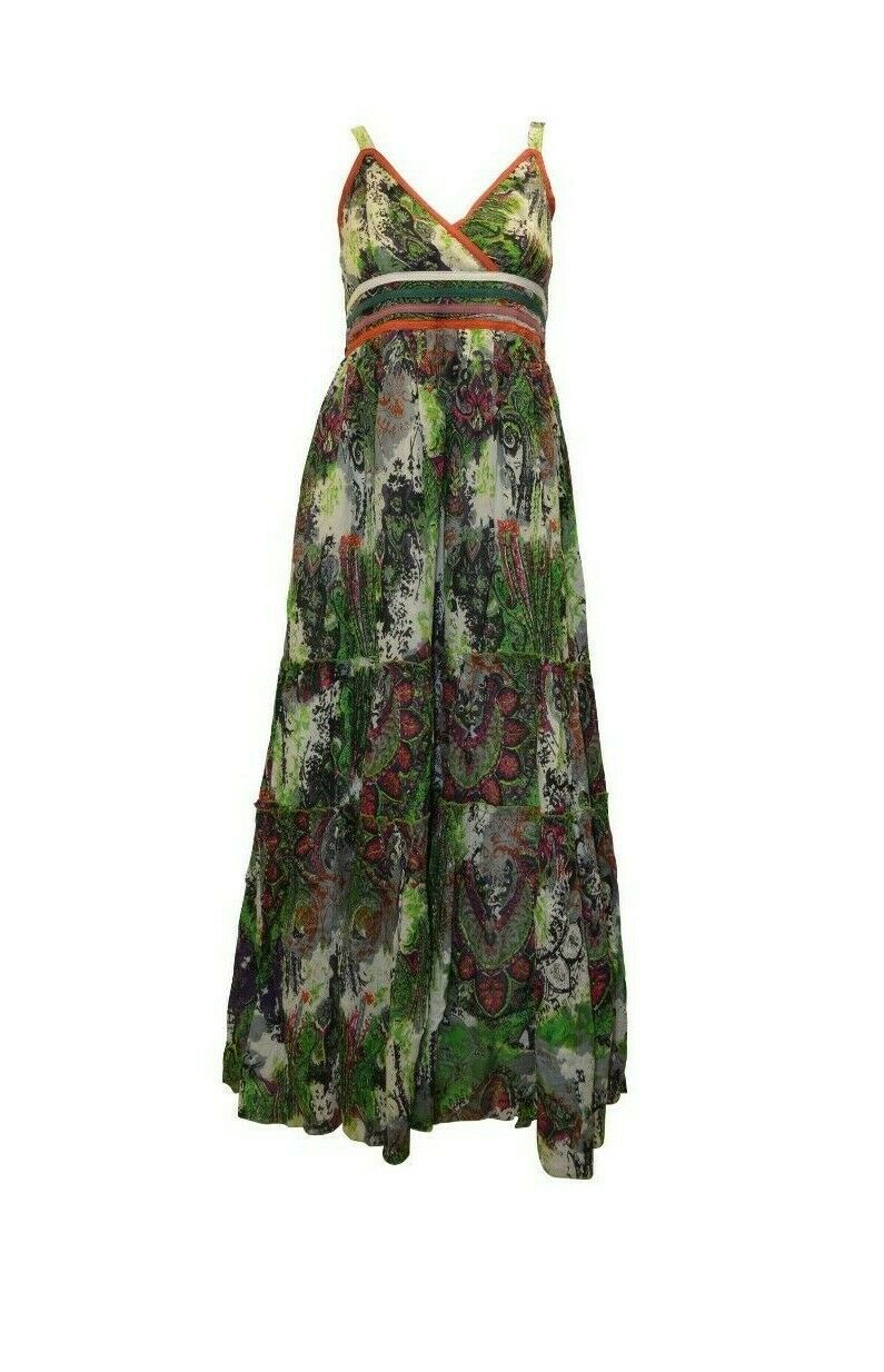 Primary image for 100% COTTON BOHO HIPPIE VINTAGE STYLE V-NECK CROSS OVER FLORAL MAXI DRESS P17