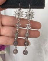AUTH CHANEL Salzburg CC Long Crystal Star Bead Dangle Drop Earrings SILVER 2015