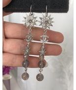 AUTH CHANEL Salzburg CC Long Crystal Star Bead Dangle Drop Earrings SILV... - $529.99