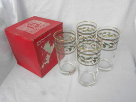 4 J.G. Durand Home/Holidays Christmas Holly & Berry 16 oz. Beverage Glas... - $9.99