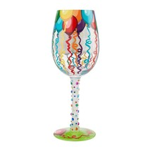 """Birthday Streamers """"Designs by Lolita"""" Wine Glass 15 o.z. 9"""" High  Gift Boxed image 2"""