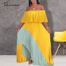 Tobinoone Ruffles Pleated Women Dress Party Sexy Bodycon Maxi Dress Autu... - $43.96