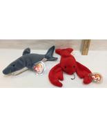 Ty Beanie Babies Crunch Gray Shark & Pinchers Red Lobster Original w/ Ta... - $12.86