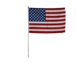 "12x18 12""x18"" Wholesale Lot of 3 USA American Ball Top Stick Flag wood Staff - £6.51 GBP - £18.04 GBP"