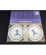 Vintage Wedgwood Blue & White Jasper Royal Wedding 1981 Pair Round Trays - $34.99