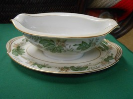 "Rare Vintage Noritake N China ""Daphne""#6312 Gravy Boat With Attached Underplate - $12.19"