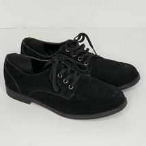 Lands End Boys 5 Garcon Shoes Black Suede Lace-Up Oxford Leather Lining - $20.00