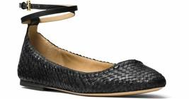 Michael Kors Collection Dunbar Woven Ankle Strap Flats Black 37.5 weave ... - $97.02