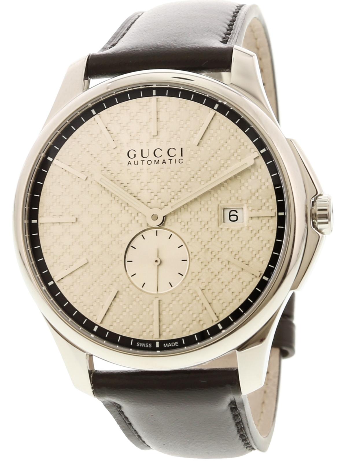 Gucci Men's G-Timeless YA126313 Silver / Black Leather Swiss Automatic Dress Wat