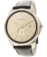 Gucci Men's G-Timeless YA126313 Silver / Black Leather Swiss Automatic D... - $1,175.00