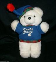 VINTAGE DAN DEE SANTA PAWS CHRISTMAS WHITE TEDDY BEAR STUFFED ANIMAL PLU... - $23.38