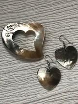 Estate Demi Carved Brown & Cream Seashell Open Heart Pendant & Dangle Ea... - $15.79