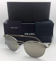 New PRADA Sunglasses SPR 62S ZVN-1C0 53-19 Pale Gold Frame w/ Brown+Gold Mirror - $359.95