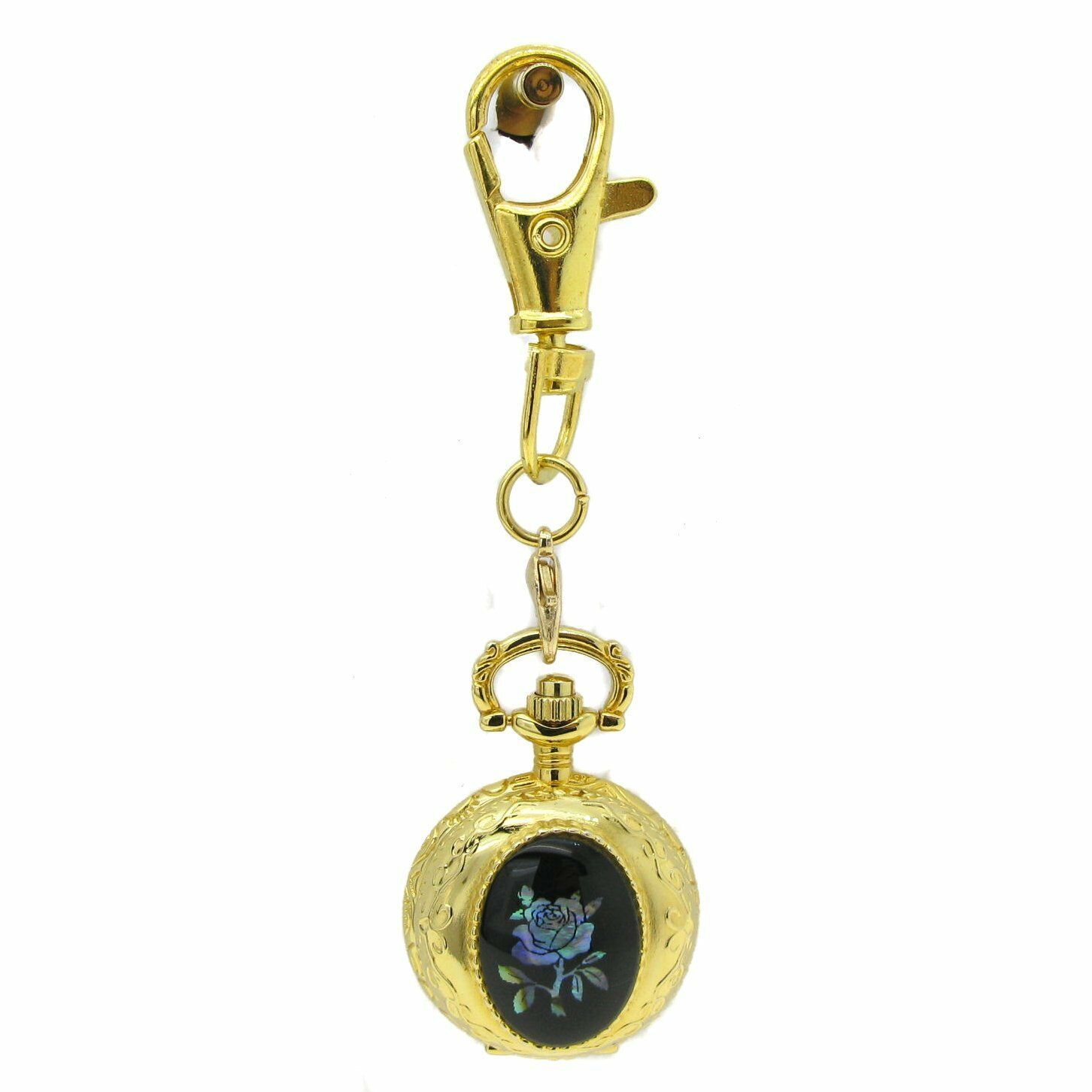 Gold Ladies Vintage Pendant Watch Black Onxy 2 Ways Key Chain Necklace Gift L52