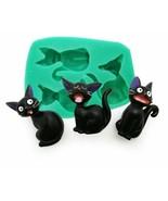 Three Cats Shape Silicone Mould Cartoon Style for Fondant Cake Decor Soa... - $8.59