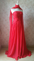 Elegant Red Strapless Sheer Mermaid Maxi Dress Chiffon Sheath Red Evening Dress image 3
