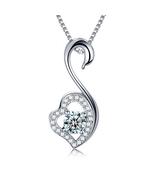 Fashion Women Sterling Silver Zircon Swan Pendant - $15.99