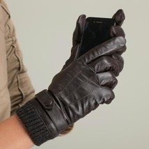 Men Gloves Leather Long Fleece Lined Leather Gloves Fashion Male Gloves - $44.99