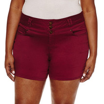 "Blue Spice 2 1/2"" Denim Shorts-Juniors Plus Sizes 14 New Burgundy - $17.99"