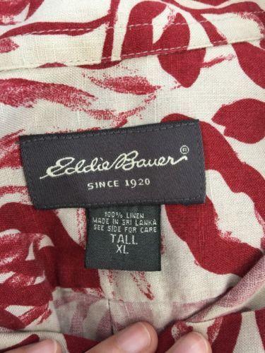 8df4ee9d Eddie Bauer Red Wine Floral Tropical Hawaiian Aloha Linen Shirt Tall XL XLT  Tall