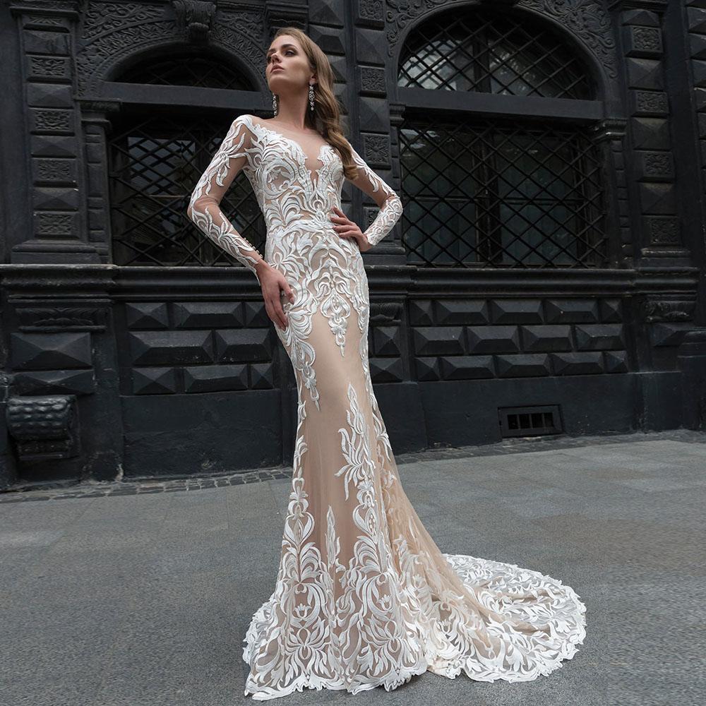 E champagne lining satin elegant long sleeve mermaid wedding dresses vestido de noiva sereia new