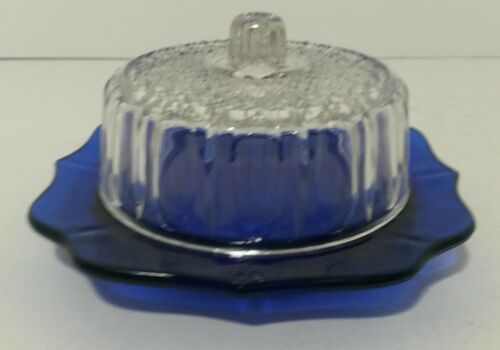 Imperial Glass Ohio Small Cheese Butter Dish Cobalt Blue Dish With Clear Lid