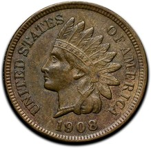 1908 Indian Head Cent Penny Coin Lot# A 337