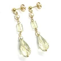 Boucles D'Oreilles Pendantes or Jaune , 18K 750, Perles Ronde, Quartz Lemon Drop image 1