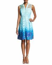 NWT Elie Tahari Kalli Sleeveless Zip-Front Ombre Lace Dress, Light Blue ... - $116.53