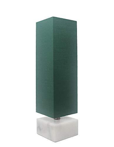 Urbanest Ardin Accent Table Lamp, Hunter Green Shade with White Marble Base, 14