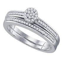 10kt White Gold Round Diamond Cluster Bridal Wedding Engagement Ring Set 1/5 Ctw - $400.00