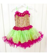 Glamour Girls' Dance Costume Pink Green Sequined Tutu Child Size XLC NWT - $24.74
