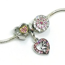 Mom Pink Rhinestone Heart Flower Dangle Charms European Bead fit Bracelet 3pc - $11.30