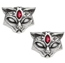 Red Eyed Sacred Egyptian Cat Warrior Earrings Surgical Studs Alchemy Got... - $17.00