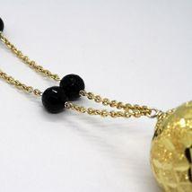 Collier Argent 925, Jaune, Grand Sphère Tricotée, Chute Onyx Noir image 6