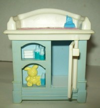 Fisher Price Loving Family Dollhouse Blue Baby Doll Changing Table Nursery 1999 - $14.84
