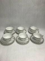 6 sets footed cup saucer tea Vintage Franconia Krautheim Selb Bavaria Pa... - $92.06