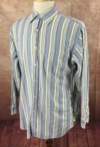 J. Crew Button Front Long Sleeve 100% Cotton Blue Stripe Shirt Men's M (... - $18.70