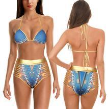 Women's Push Up Padded High Waist Ethnic Print Bikini Swimwear Set image 8