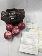 Set 4 Vintage Red w/ White Swirls Candlepin Bowling Balls 2 lb 4 oz & Ba... - $59.35