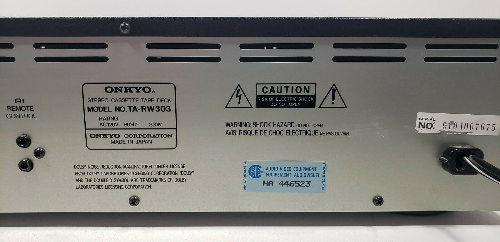 Onkyo Stereo Cassette Tape Deck TA-RW303 Tested image 10