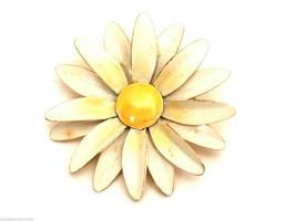 Vintage Signed Brooch Pin  Robert Original Enamel Flower Daisy - $31.25