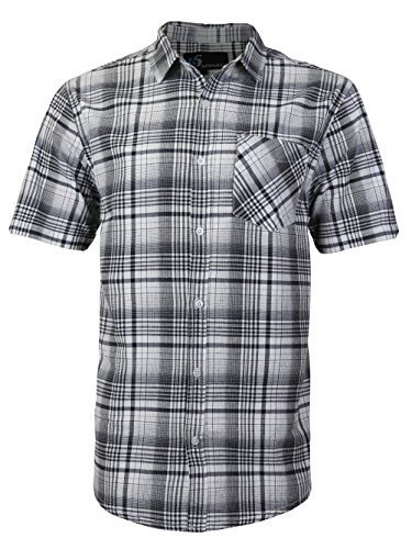 vkwear Men's Plaid Checkered Button Down Casual Short Sleeve Dress Shirt (Large,