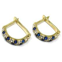 18K YELLOW GOLD MINI 10mm CIRCLE HOOPS EARRINGS, BLUE & WHITE CUBIC ZIRCONIA image 3