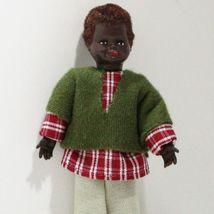 Dressed Black Little Boy Doll 0990 Ethnic AA Caco Red Plaid Dollhouse Mi... - $22.94